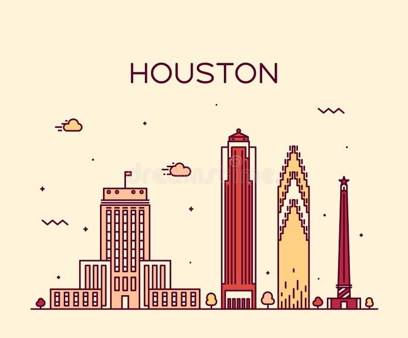 Illustration för vektor för Houston horisont linjär moderiktig stock illustrationer