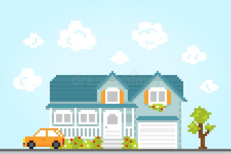 Illustration för vektor för hus för läge för stad för PIXELkonststil retro modig vektor illustrationer