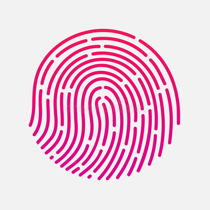 Illustration för vektor för ID app för cirkelhandlagfingeravtryck royaltyfri illustrationer