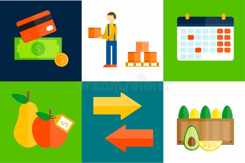 Illustration för vektor för importexportfrukter stock illustrationer