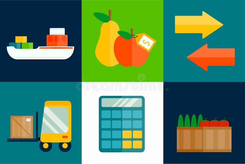 Illustration för vektor för importexportfrukter royaltyfri illustrationer