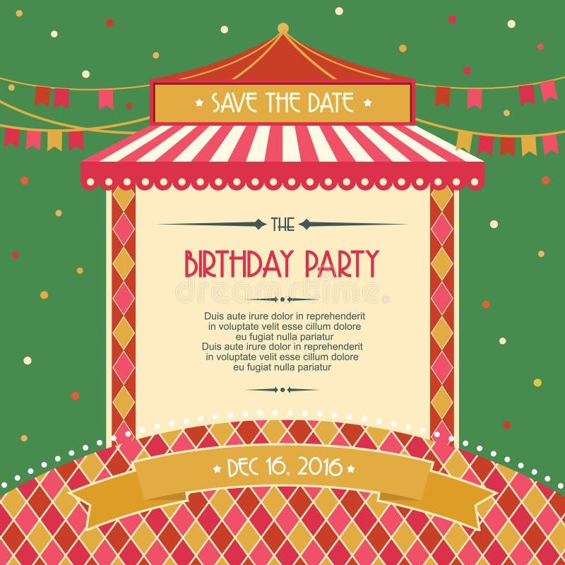 Illustration för vektor för inbjudan för kort för beröm för födelsedagparti stock illustrationer