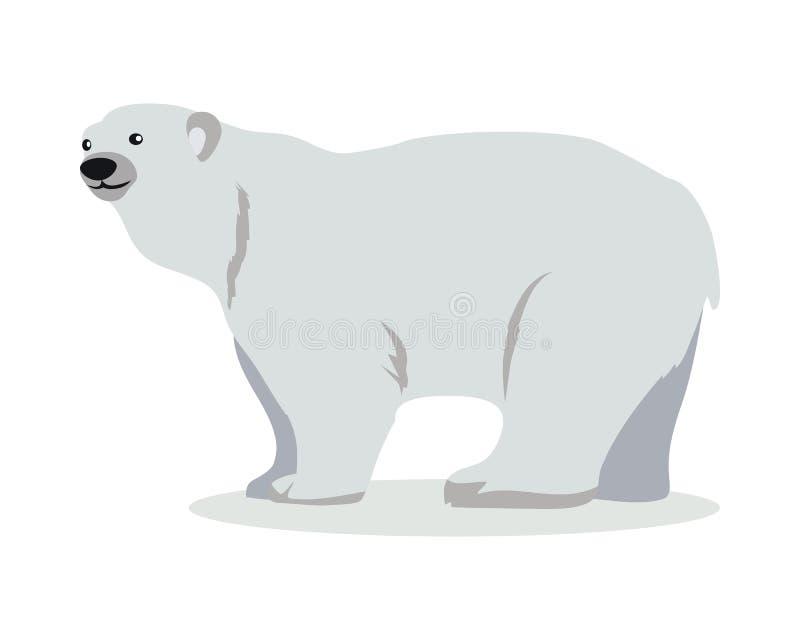 Illustration för vektor för isbjörntecknad filmlägenhet stock illustrationer