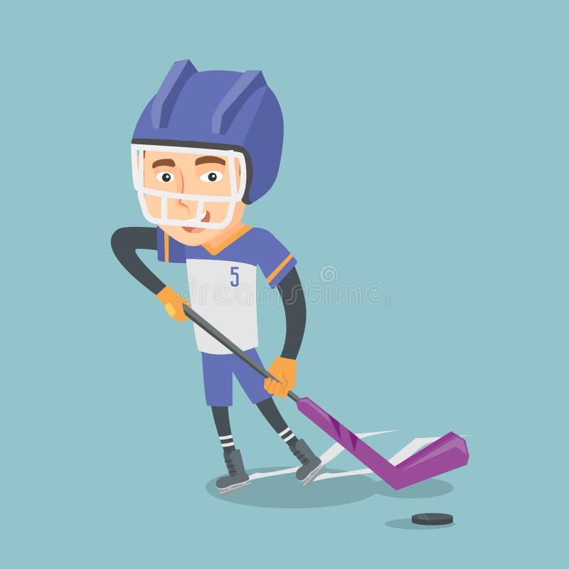 Illustration för vektor för ishockeyspelare royaltyfri illustrationer