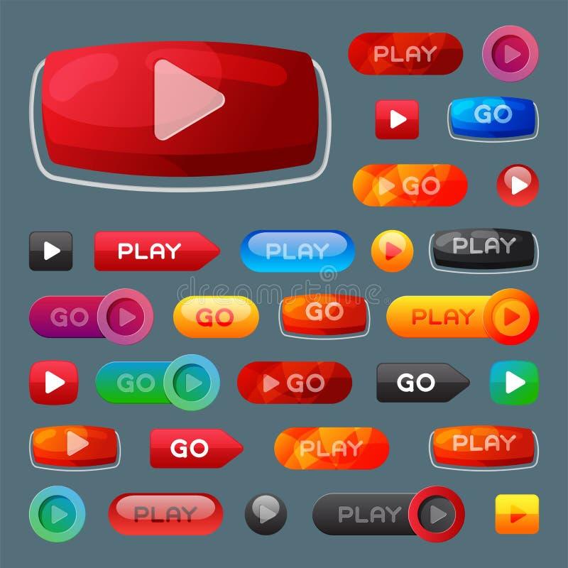 Illustration för vektor för klick för fläck för spelare för beståndsdel för website för internet för massmedia för lek för UI-man vektor illustrationer