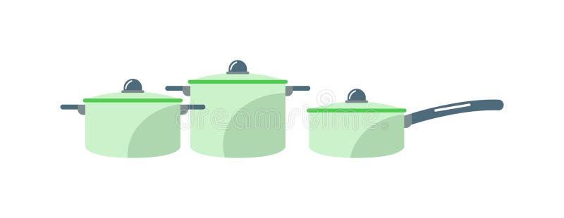 Illustration för vektor för kruka för utrustning för kök för hem för stål för tecknad filmpannamatlagning stock illustrationer