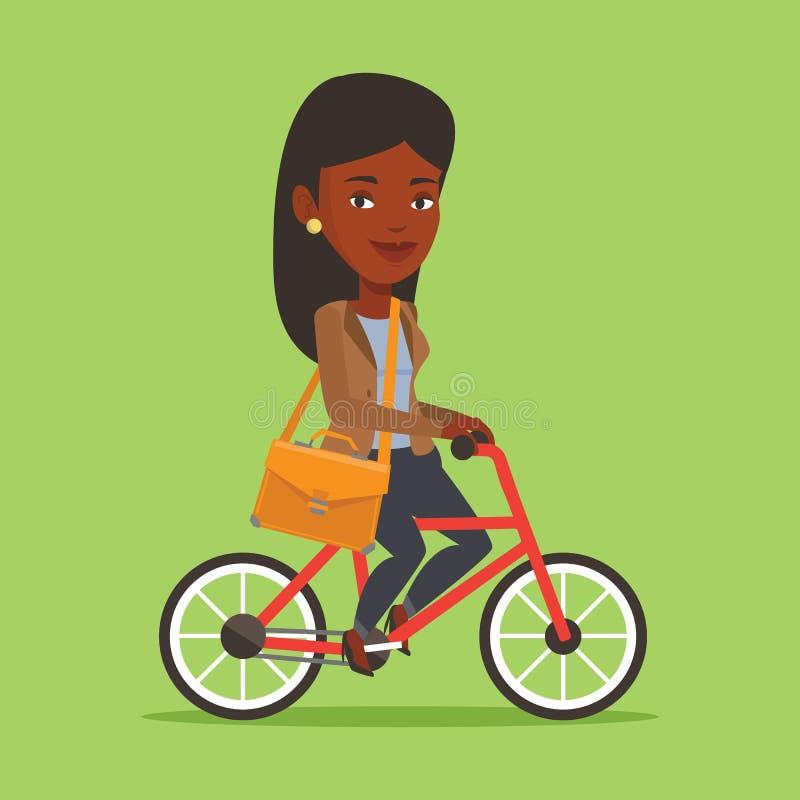 Illustration för vektor för kvinnaridningcykel stock illustrationer