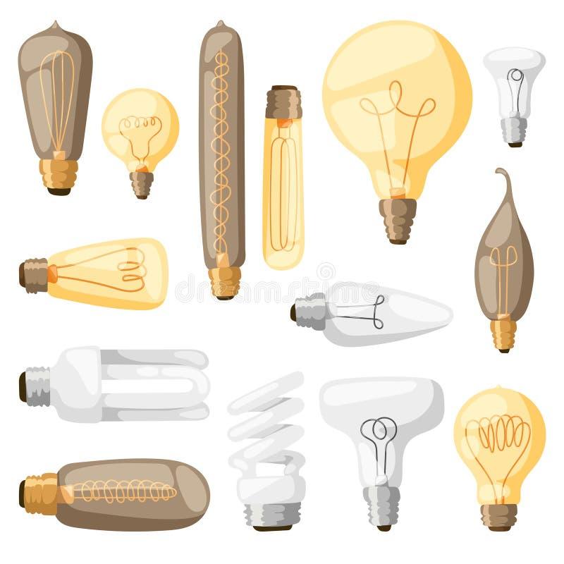 Illustration för vektor för lägenhet för design för elektricitet för ljus kula för tecknad filmlampor stock illustrationer