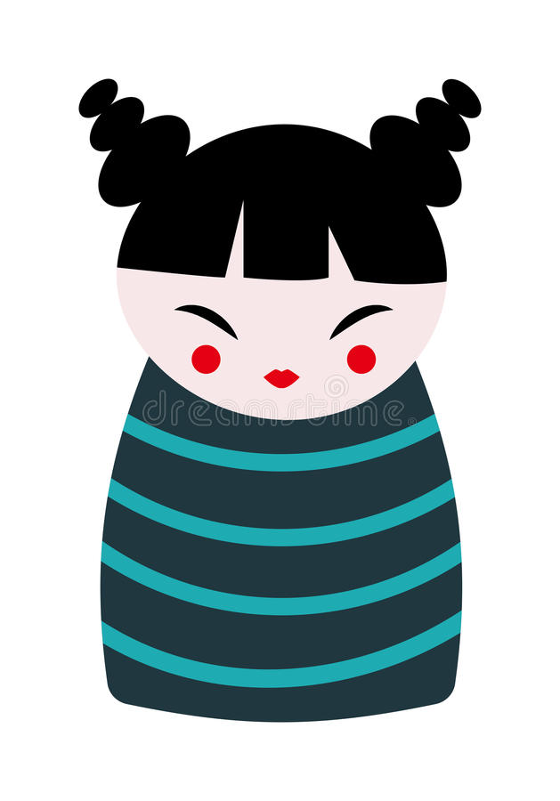 Illustration för vektor för lägenhet för glädje för kinesisk för dockaleksak traditionell för kultur tecknad film för porslin gul stock illustrationer