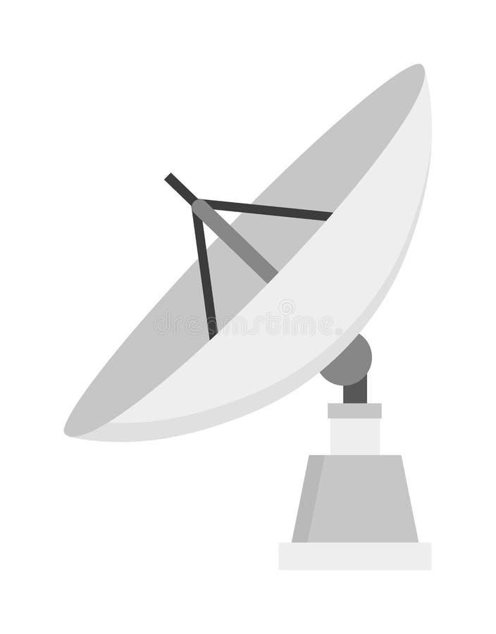 Illustration för vektor för lägenhet för signal för radio för utrymme för satellit- symbolsteknologi trådlös vektor illustrationer