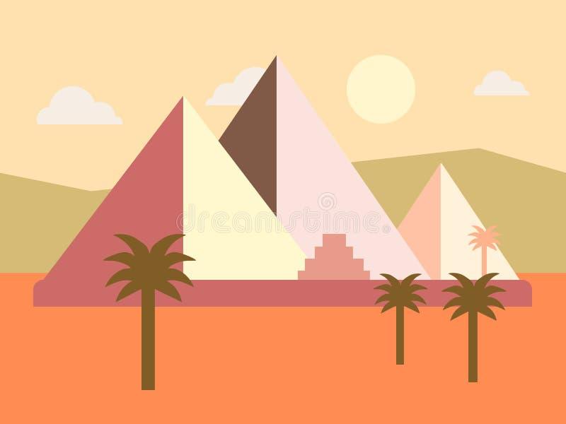 Illustration för vektor för lägenhet för solnedgång för ökenEgypten pyramider vektor illustrationer