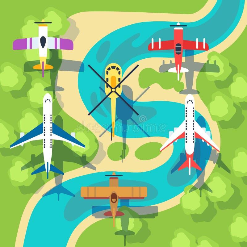 Illustration för vektor för landskap för nivåer och för helikoptrar för bästa sikt ovannämnd vektor illustrationer