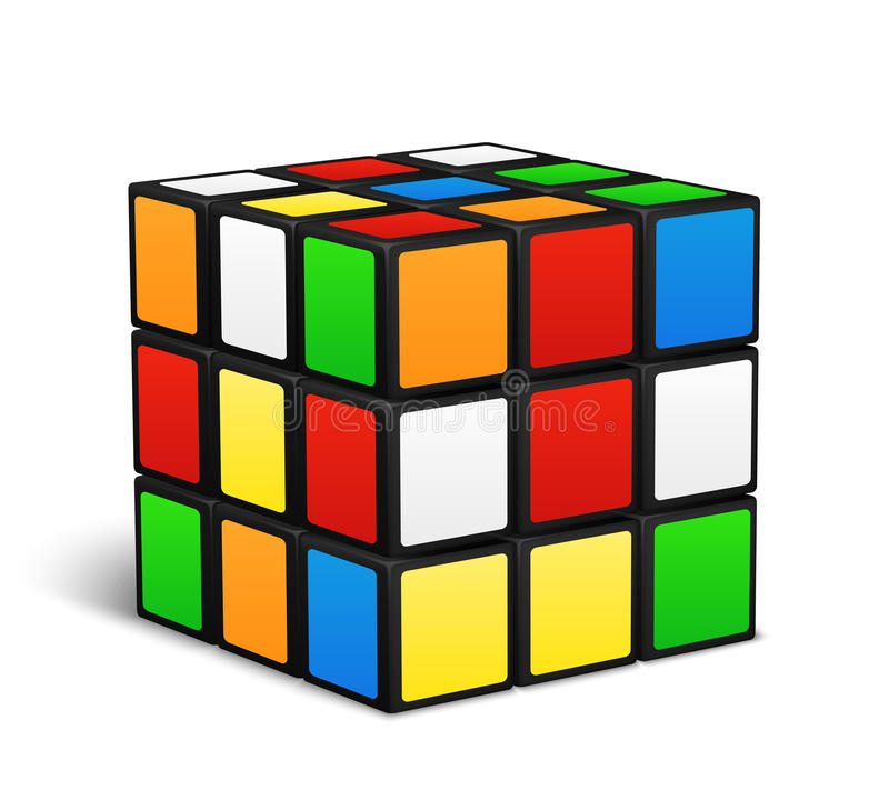 Illustration för vektor för lek för Rubik kublogik stock illustrationer