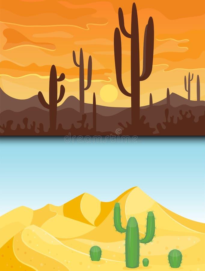 Illustration för vektor för lopp för landskap för dyn för torr under-sol för bakgrund för landskap för vildmark för ökenbergsands royaltyfri illustrationer