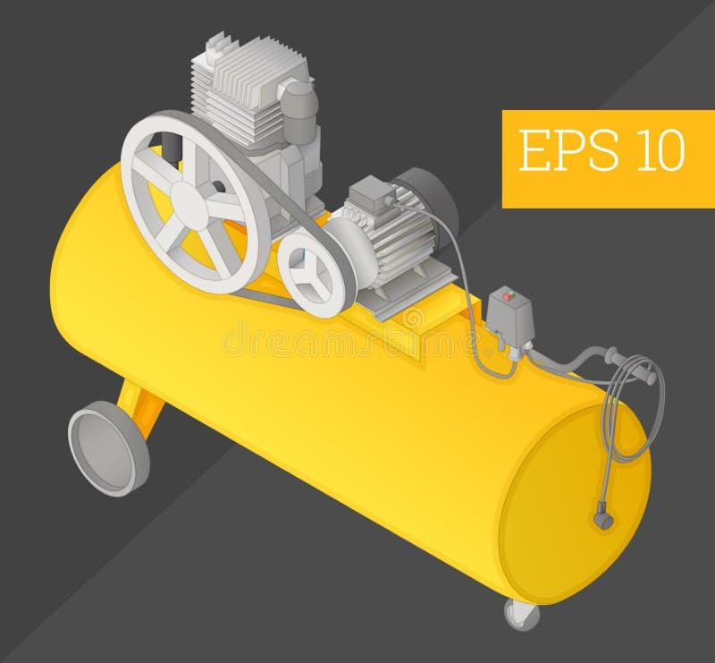 Illustration för vektor för luftkompressor isometrisk vektor illustrationer