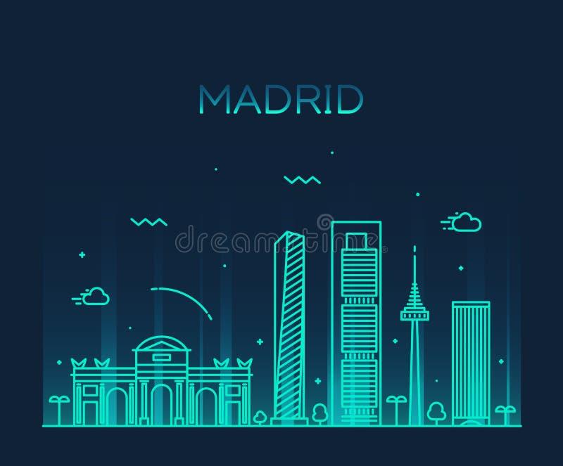 Illustration för vektor för Madrid horisont linjär moderiktig vektor illustrationer