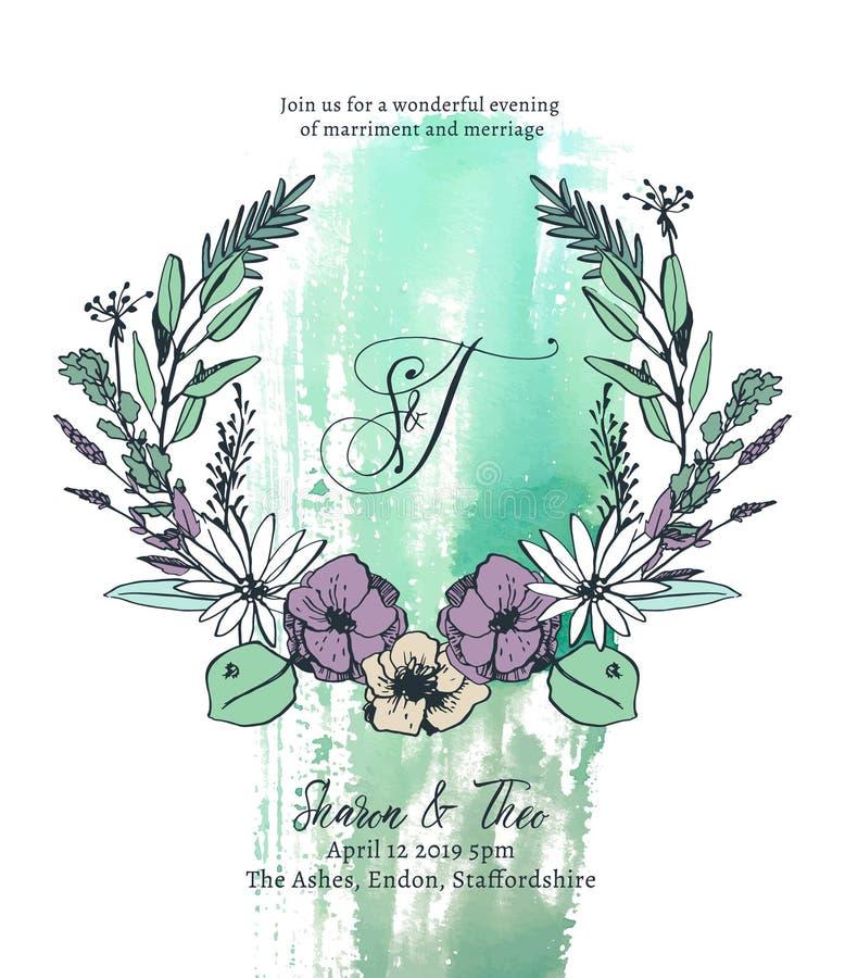 Illustration för vektor för mall för bröllopinbjudankort stock illustrationer