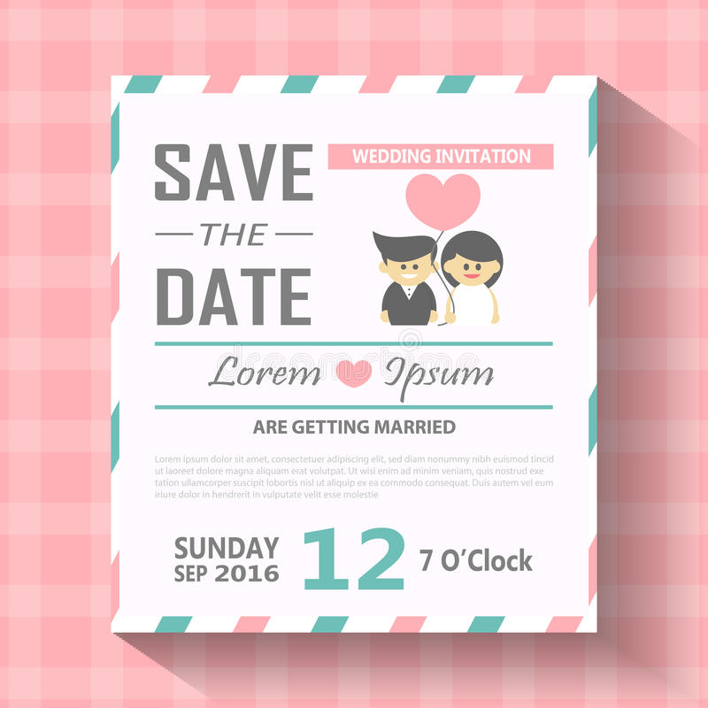 Illustration för vektor för mall för bröllopinbjudankort, bröllopinbjudankort som är redigerbart med bakgrund royaltyfri illustrationer