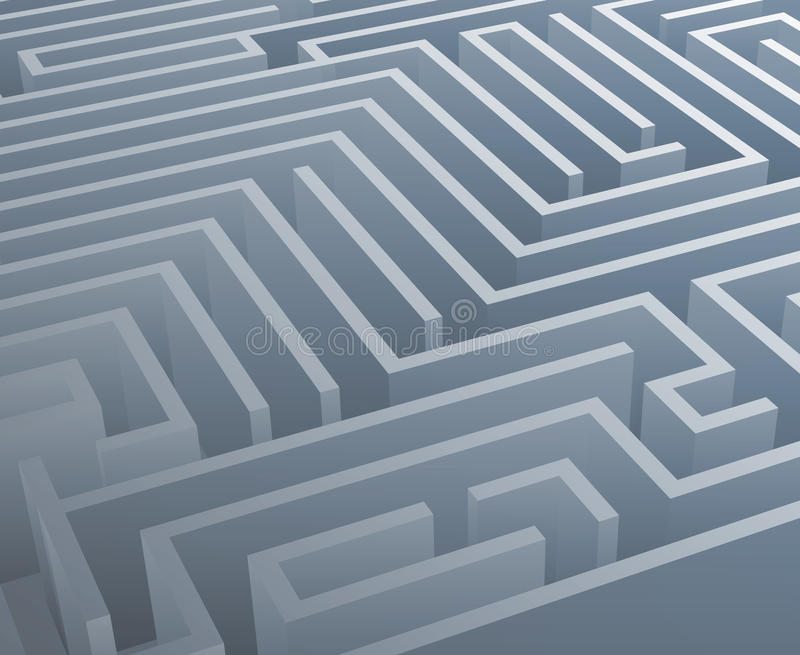 Illustration för vektor för mall för design för bakgrund 3d för labyrint för förvecklinglabyrint isometrisk royaltyfri illustrationer
