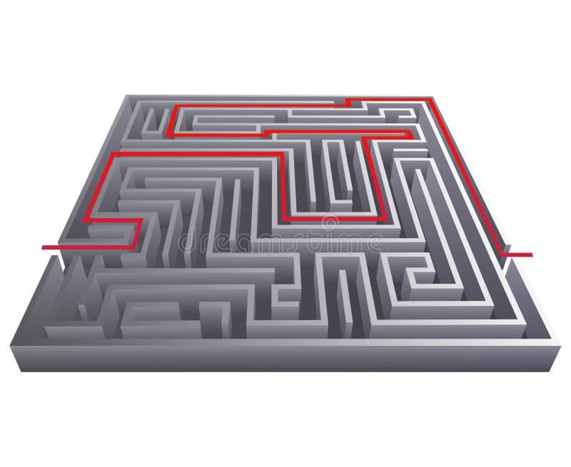 Illustration för vektor för mall för design för bakgrund 3d för labyrint för labyrint för vägpasserandeförveckling isometrisk stock illustrationer