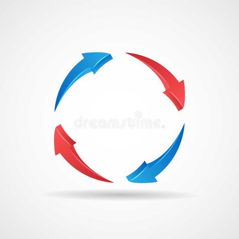 Illustration för vektor för mall för design för symbol för pilar för abstrakt begrepp för cirkuleringsuppdateringsymbol 3d royaltyfri illustrationer