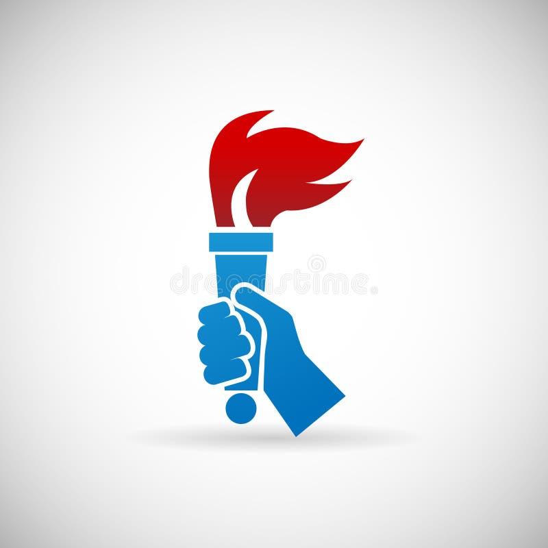 Illustration för vektor för mall för design för symbol för Victory Flame Symbol Hand Hold brandfackla vektor illustrationer