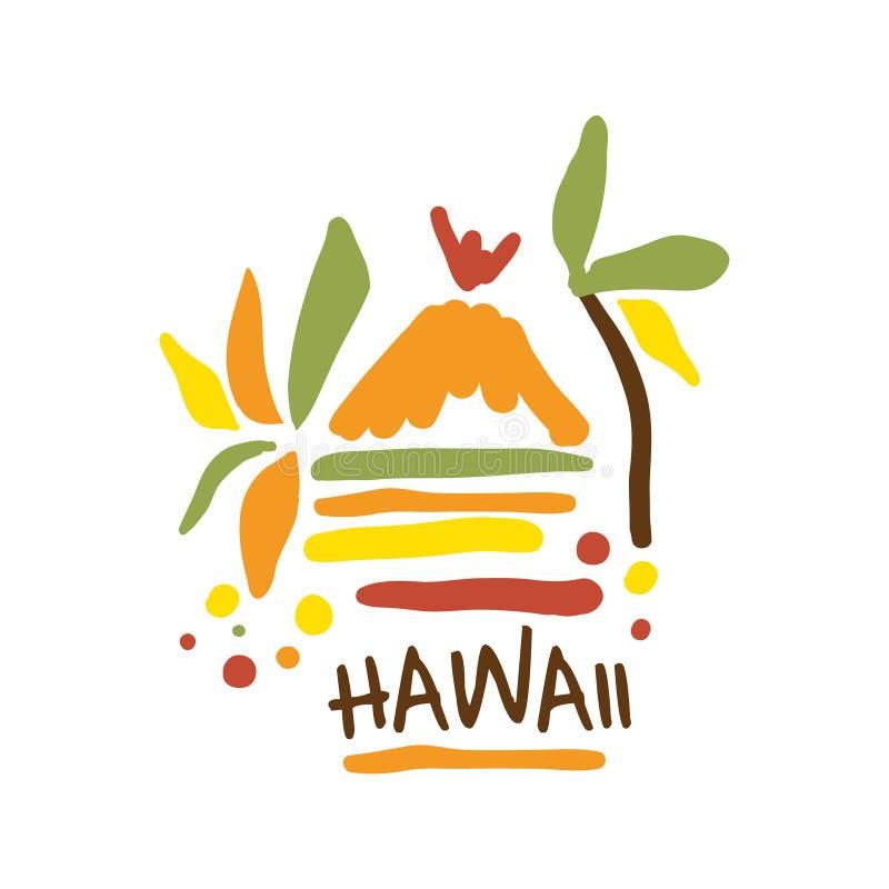 Illustration för vektor för mall för Hawaii turismlogo hand dragen vektor illustrationer