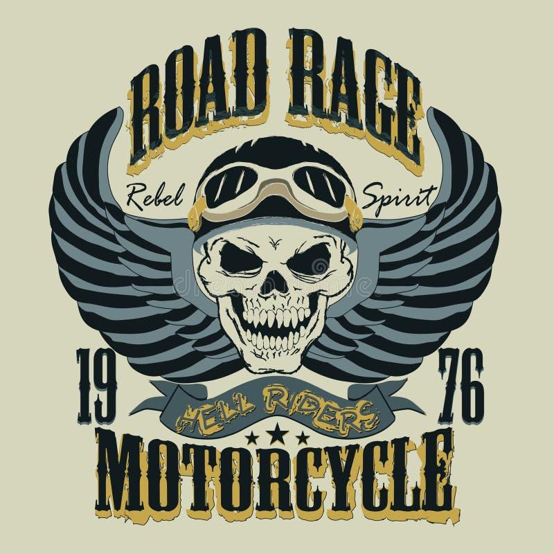 Illustration för vektor för motorcykelT-tröjadesign stock illustrationer