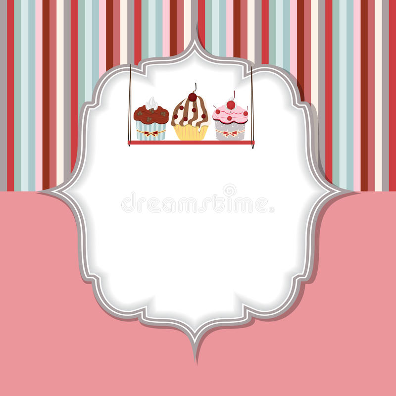 Illustration för vektor för muffininbjudankort stock illustrationer