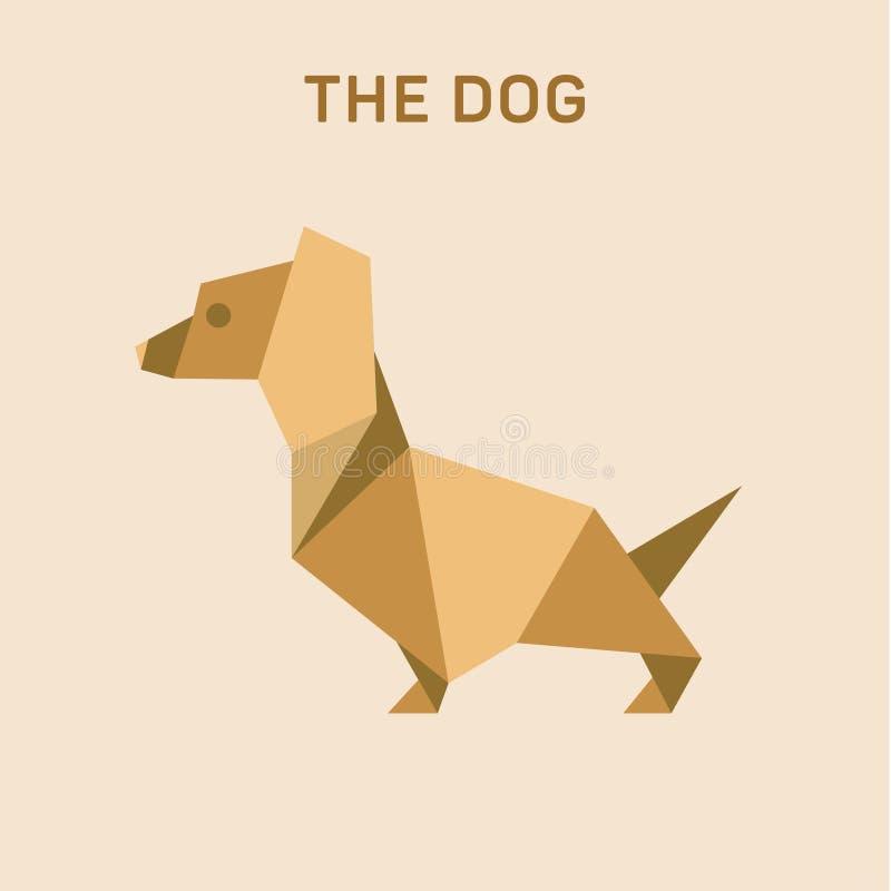 Illustration för vektor för origami för lägenhet för taxhundBasset, lågt poly royaltyfri illustrationer