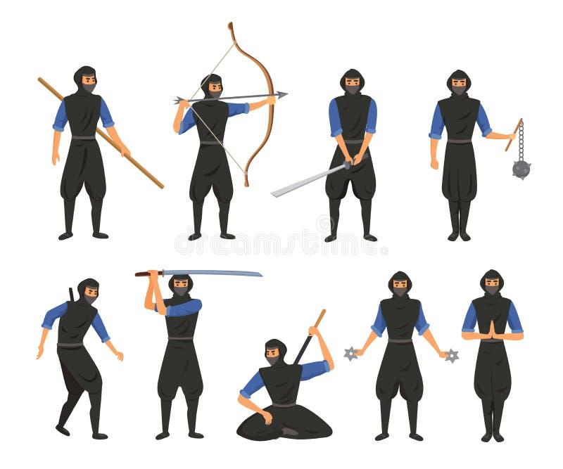 Illustration för vektor för person för soldat för krigare för tecknad film för man för krigare för tecken för torkduk för Ninja k stock illustrationer