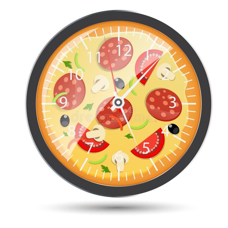 Illustration för vektor för pizzaklockabegrepp royaltyfri illustrationer
