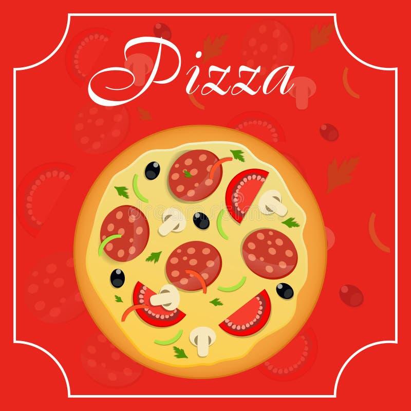 Illustration för vektor för pizzamenymall stock illustrationer