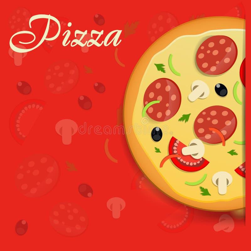 Illustration för vektor för pizzamenymall royaltyfri illustrationer