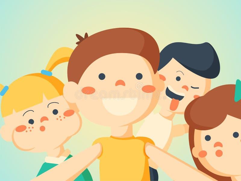 Illustration för vektor för portreit för vänner för Selfie barnpar stock illustrationer