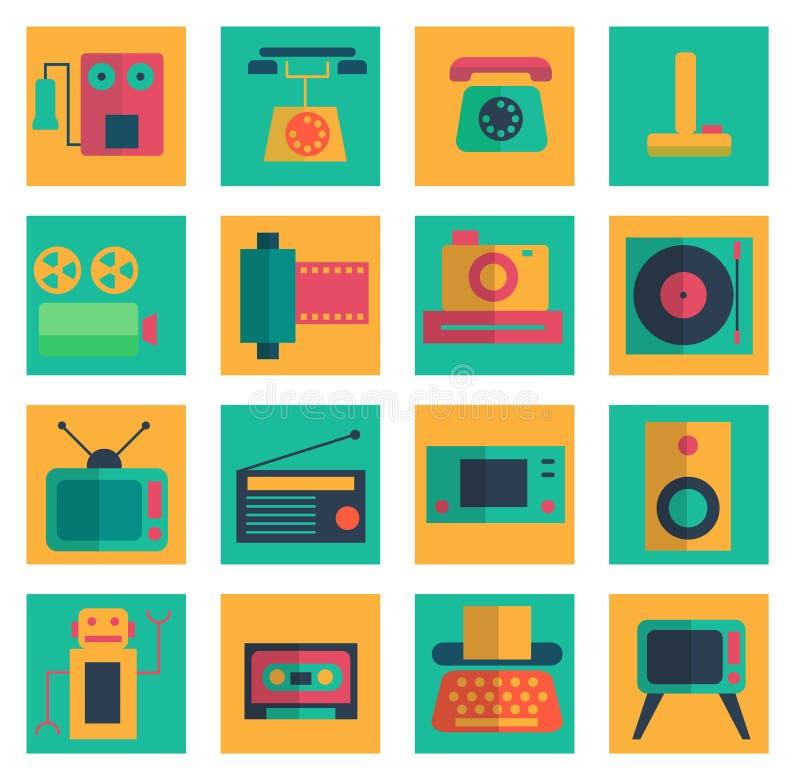 Illustration för vektor för Retro objektlägenhetsymboler fastställd stock illustrationer