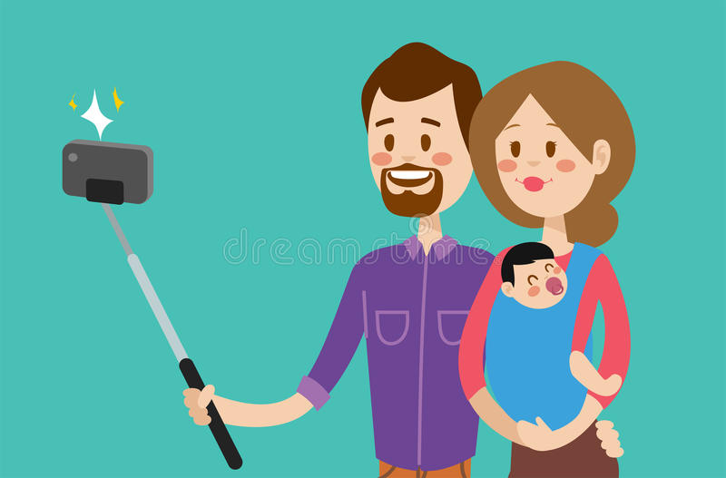 Illustration för vektor för Selfie familjportreit royaltyfri illustrationer