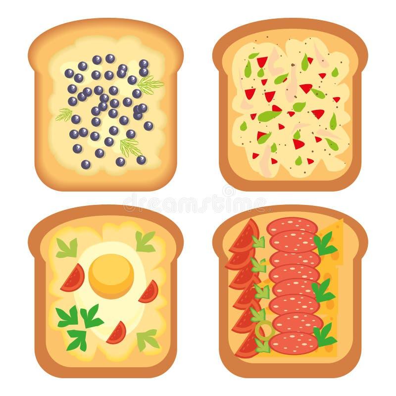 Illustration för vektor för smörgås för lunch för mellanmål för rostat brödbrödmål royaltyfri illustrationer