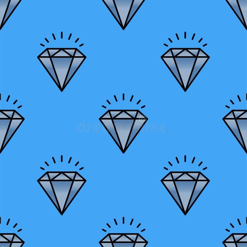 Illustration för vektor för smycken för traditionell briljant för modelldiamant för smycken sömlös för lyx minut för bot dyrbar g royaltyfri illustrationer