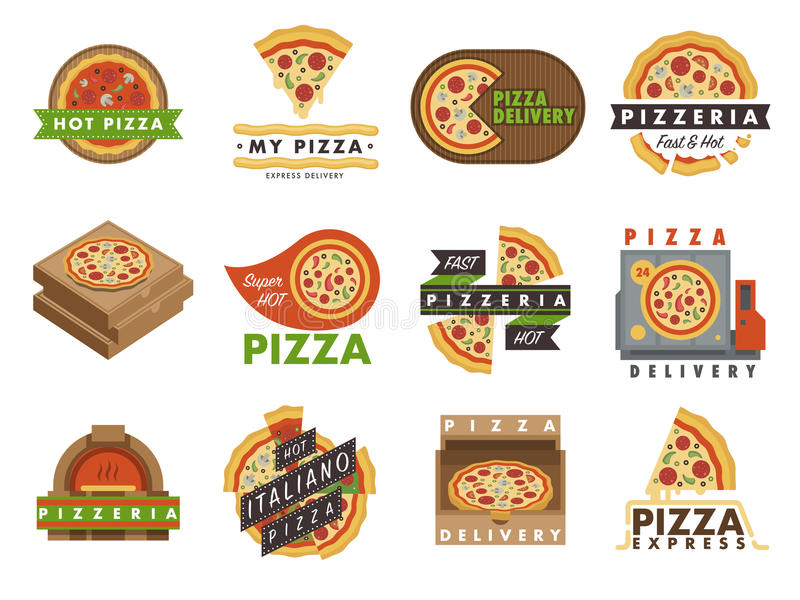 Illustration för vektor för snabbmat för service för restaurang för pizzeria för emblem för leveranspizzalogo royaltyfri illustrationer