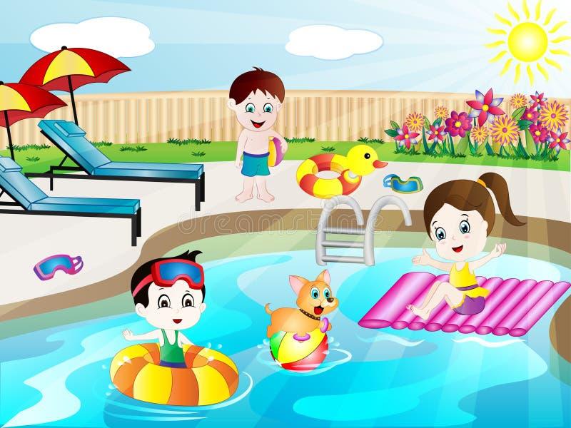 Illustration för vektor för sommarsimbassäng rolig stock illustrationer