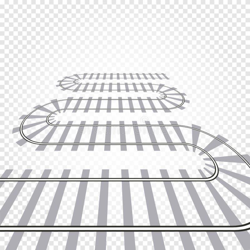 Illustration för vektor för stångjärnvägspår järnväg drev Slingrig banaväg stock illustrationer