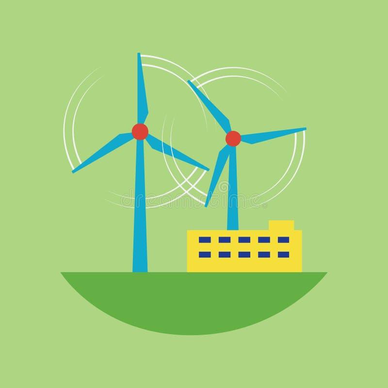 Illustration för vektor för station för vind för källa för alternativ energi royaltyfri illustrationer
