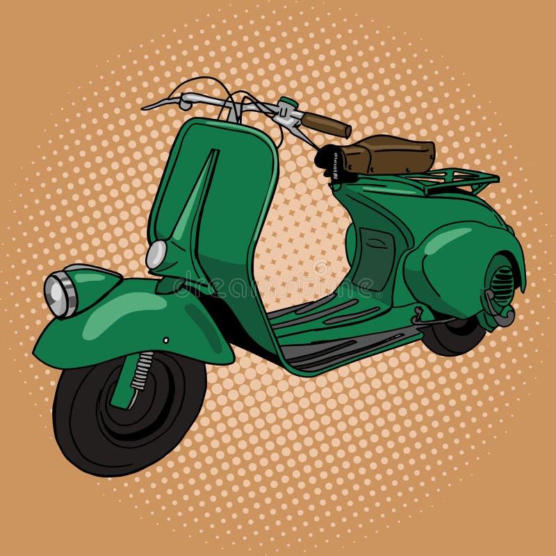 Illustration för vektor för stil för sparkcykelpopkonst vektor illustrationer