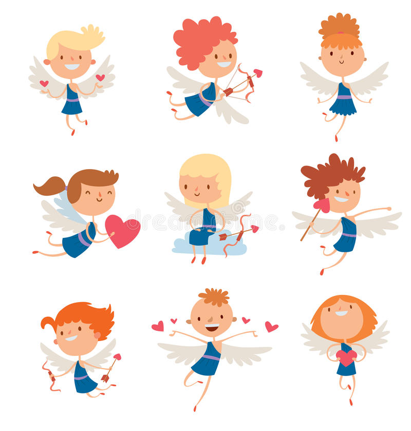 Illustration för vektor för stil för tecknad film för Valentine Day kupidonänglar royaltyfri illustrationer