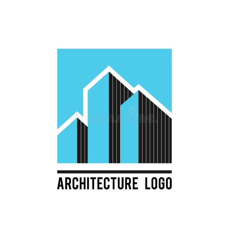 Illustration för vektor för symbol för arkitekturbyggnadsetikett stock illustrationer