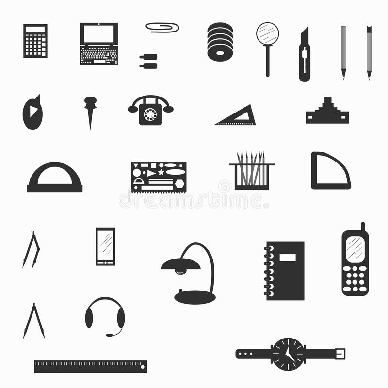 Illustration för vektor för symbol för kontorstillförsel royaltyfri illustrationer