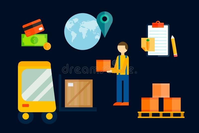 Illustration för vektor för symboler för importexportlast royaltyfri illustrationer