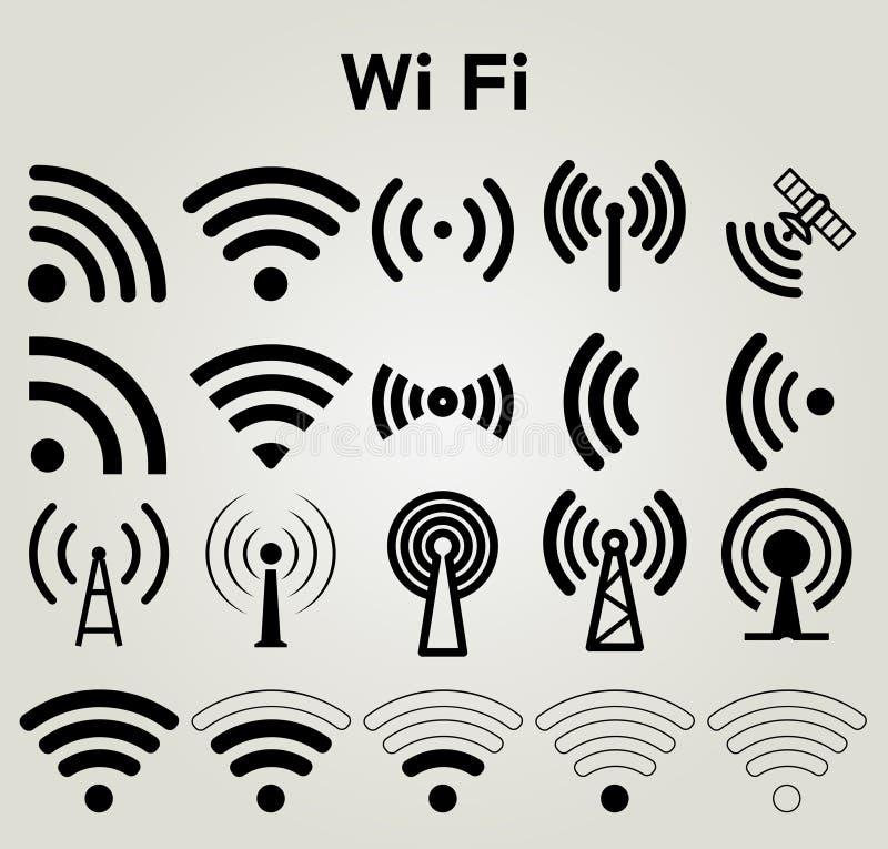 Illustration för vektor för symboler för Wi Fi fastställd royaltyfri illustrationer