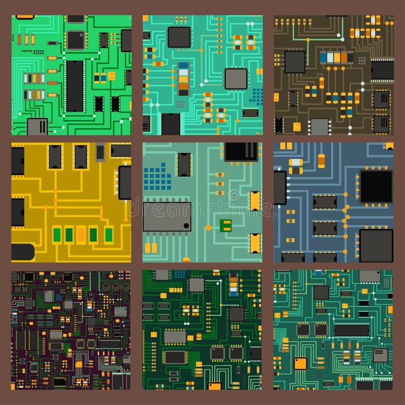 Illustration för vektor för system för information om moderkort för strömkrets för datorchipteknologiprocessor vektor illustrationer